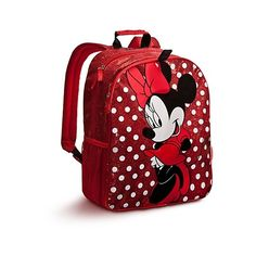 Personalizable Minnie Mouse Backpack Red ($15) ❤ liked on Polyvore featuring bags, backpacks, baby, metallic bag, pattern backpack, red backpack, rucksack bag y red bag