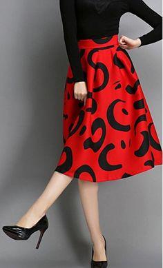 Pristilla: Womens modest high waist ball style A-line skirt with a modern floral print. #empireskirt #highwaist #valentinesday