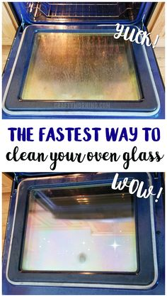Heres the fastest and easiest way to clean your oven glass in under 5 minutes! Its all natural and doesnt smell! How to get grease stains off oven glass and racks. Household Cleaning Tips, Deep Cleaning Tips, Toilet Cleaning, Cleaning Recipes, House Cleaning Tips, Natural Cleaning Products, Spring Cleaning, Cleaning Hacks, Kitchen Cleaning