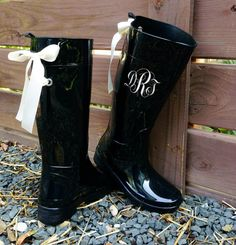 Monogramed+Black+Gloss+Rain+Boots+with+Ivory+by+PuddlesNRainBows,+$78.00