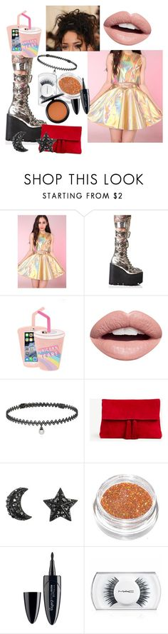 """""""What Glitters and Glows"""" by aricrowder ❤ liked on Polyvore featuring Current Mood, Skinnydip, Nevermind, GALA, BERRICLE, Ann Taylor, Maybelline and MAC Cosmetics"""