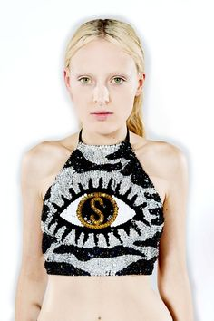 discount universe zebra dollar eye halter top Sparkly Outfits, Discount Universe, Funky Fashion, Fashion Details, Her Style, Diy Clothes, Sequins, Crop Tops, Boho