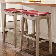 "Jennifer Oak Bar Stool in ""Textured Dark Red"" @ Grandin Road"