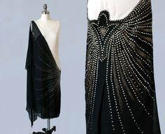 robe des années 1920 / 20 s FRANÇAIS deux ton strass cloutés et boiteux robe brodé noir et crème