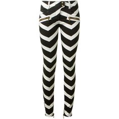 Balmain Black And White Jeans ($820) ❤ liked on Polyvore