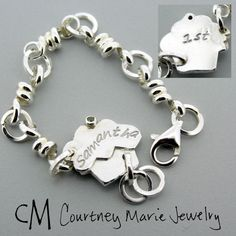 SWEET first birthday gift for a special little girl, complete with a genuine Peridot birthstone as the cherry on top!  #handmade #sterling silver #little girl bracelet #Courtney Marie Jewelry