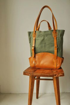 Leather-SR, Leather Canvas Tote Bag