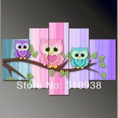 buhos pintados en madera | emoldurado/frete grátis/mão- cor pintada animal coruja grupo pintura ...: