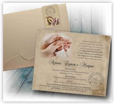 Προσκλητήριο Γάμου & Βάπτισης vintage με χεράκια ζευγαριού και μωρού με φάκελλο κουτί πολυτελείας μόνο με 0,60 ευρώ!!! www.aquarella.gr Cover, Vintage, Sink Tops, Vintage Comics