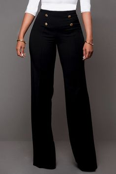 Plain Decorative Button Wide-Leg High-Rise Casual Pants Plain Decorative Button Wide-Leg High-Rise Casual Pants Plain Decorative Button Wide-Leg High-Rise Casual Pants for my client to enhance her waist and this style skims down the sides nicely<br> Style Casual, Cute Casual Outfits, Casual Pants, Casual Wear, Casual Clothes, Black Pants Outfit Dressy, Edgy Outfits, Long Pants, Wide Leg Pants
