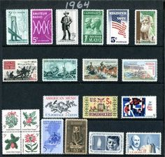 COMPLETE MINT SET OF POSTAGE STAMPS ISSUED IN THE YEAR 1964 BY THE U.S. POST OFFICE DEPT. (Total 21 Stamps)