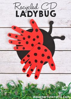 CD Ladybug Craft For Kids Recycled CD Ladybug Craft For Kids! Cute craft idea for spring or summer speech therapy!Recycled CD Ladybug Craft For Kids! Cute craft idea for spring or summer speech therapy! Spring Crafts For Kids, Art For Kids, Hand Crafts For Kids, Bug Crafts Kids, Easy Toddler Crafts 2 Year Olds, Hand Print Crafts, Recycled Crafts For Kids, Spring Crafts For Preschoolers, Toddler Paper Crafts