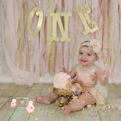 Pink and gold Cake Smash set by MyLittleStinky on Etsy