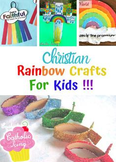 These adorable rainbow crafts are so cute, and there are several here good for preshoolers! These rainbow crafts for perfect for Sunday school, vacation bible school, or whenever you're teaching your kids the Noah story! Catholic Crafts, Catholic Kids, Noah Story, Simple Collage, Beautiful Symbols, Rainbow Ribbon, Bible Crafts For Kids, Sock Crafts, Christian Kids