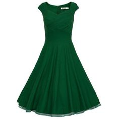 Retro Audrey Hepburn 50s Dress Women Vintage Solid Robe Party Dresses... ❤ liked on Polyvore featuring dresses, cocktail dresses, plus size special occasion dresses, plus size cocktail dresses, plus size green dress and holiday cocktail dresses