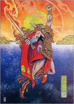 irish celtic art - From the Ulster Cycle myths, painted by the legendary Jim Fitzpatrick Nuada Journeys to the Otherworld Artist: Jim Fitzpatrick Celtic Symbols, Celtic Art, Celtic Dragon, Jim Fitzpatrick, Irish Mythology, Legends And Myths, Irish Art, Sword And Sorcery, Irish Celtic