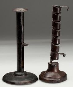 Nice C1700 Iron And Wood Courting Candle Holder ★ Ebay