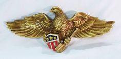 Vintage Inarco japan ceramic eagle wall hanging decor gold