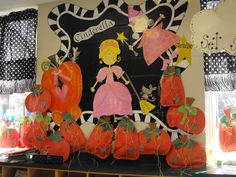 I would love to paint my bulletin boards once instead of using paper each year! Love how Glyph Girls changes their wall: Cinderella and pumpkins