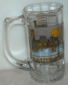 Baltimore Glass Stein Mug Gold Black Yellow Sun - This Item is for sale at LB General Store http://stores.ebay.com/LB-General-Store ~Free Domestic Shipping