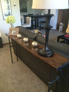 this is a handmade sofa table with industrial pipe leg support and a dark walnut top - Narrow Sofa Table