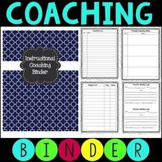 Instructional Coaching Binder Paper and Digital Options (Literacy Without Worksheets) School Leadership, Leadership Coaching, Educational Leadership, Leadership Development, Coaching Techniques, Coaching Skills, Life Coaching, Coaching Questions, Business Coaching