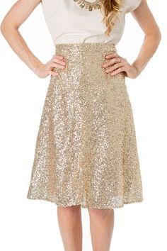 Our gold sequin skirt is perfect for holiday parties!