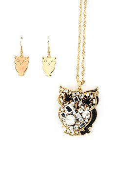 Layered Crystal Owl Pendant in Gold | Emma Stine Jewelry Necklaces