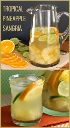 Tropical Pineapple Sangria - Moscato, coconut rum, pineapple juice and sliced oranges, limes and diced pineapple Party Drinks, Cocktail Drinks, Fun Drinks, Beverages, Sangria Recipes, Cocktail Recipes, Margarita Recipes, White Sangria Recipe Moscato, Tropical Sangria Recipe
