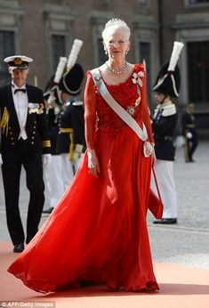 Queen Margrethe II of Denmark arrives for the wedding of Prince Carl Philip of Sweden, 13 June 2015.