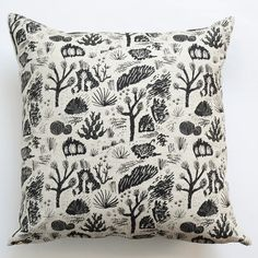 Large throw pillow 100% linen, natural oatmeal color Screen printed by hand with non-toxic water-based black ink The other side is plain black