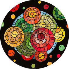 Original Paper Mosaic Design on Wood Plate  by MarjEngleDesigns, $85.00