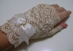 Bridal Gloves Cream / Champagne Colored Lace by paperfaces on Etsy, $35.00
