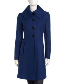 Envelope-Collar+Coat,+Cobalt+by+Nicole+Miller+at+Last+Call+by+Neiman+Marcus.