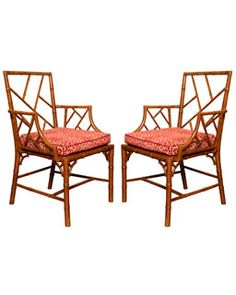 Antique Pair of Chinese Chippendale Cockpen Open Armchairs, Circa 1765 Bamboo Furniture, Cool Furniture, Outdoor Furniture Sets, Bamboo Chairs, English Antique Furniture, Chippendale Chairs, Patterned Chair, Antique Show, Faux Bamboo
