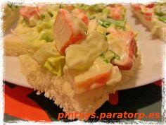 Canapés de lechuga y palitos de cangrejo con mayonesa #tapas #pintxo #food
