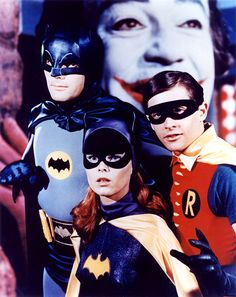 Adam West, Yvonne Craig and Burt Ward, the dynamic trio!  Caesar Romero as the Joker in background.    http://www.bat-mania.co.uk/multi/images/pictures/dynamic_trio.jpg