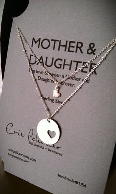 Love this for a First Day of School gift Mother Daughter Necklace Set // Inspirational by erinpelicano