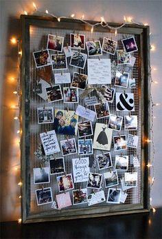 Mal eine andere Art eine Collage zu erstellen. Sehr gemütlich mit der Lichterkette. #Lichterkette #Fotos #Rahmen