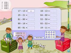RESTA DE NÚMEROS PARECIDOS: Práctica de cálculo de diferencias entre números que sólo se diferencian en las cifras correspondientes a uno, dos o tres órdenes de unidades ~ Juegos gratis y Software Educativo