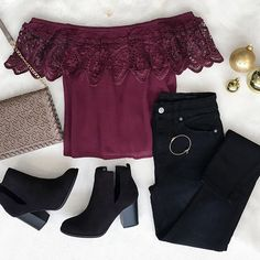 #ootd featuring our 'Lunar Off Shoulder Crochet Plum Blouse'