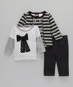 Take a look at this Black & Gray Jeans Set - Infant by Nannette on #zulily today!