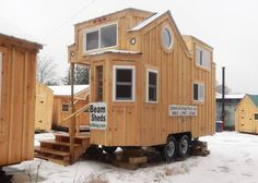 Check out this 8x16 tiny house on wheels for sale. Built for off grid living with a solar package, composting toilet, solid fuel heater & quality insulation.