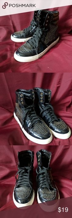 Pacsun Black Poppy Hightop Sneakers Black sneakers with subtle rounded gold studs. Black Poppy Shoes Sneakers