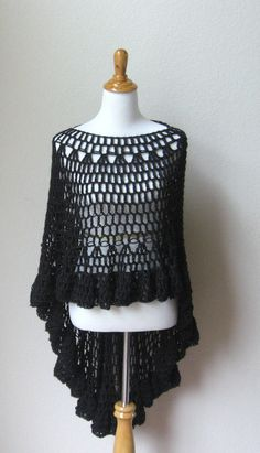 CROCHET BLACK  PONCHO Circular Vest Shawl Wrap  by marianavail, $75.00