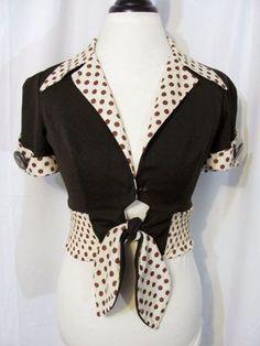 Vintage 60s TWO Tone Polkadot Rockabilly PIN UP Cropped TOP Shirt M | eBay