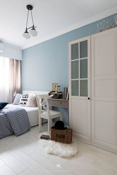 Bedroom Ideas And Inspiration. Styles: Scandinavian. Colors: Blue Wall.  Taupe Drapery