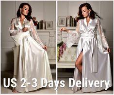 Lace Bridal Robe, Bridal Party Robes, Wedding Lingerie, Wedding Kimono, Gown Photos, Lace Kimono, Bridesmaid Robes, Stretch Satin, Chantilly Lace