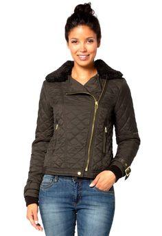 moda damska, kurtka damska, kurtka pikowana, kurtka z kołnierzem Leather Jacket, Adidas, Jackets, Fashion, Studded Leather Jacket, Down Jackets, Moda, Leather Jackets, Fashion Styles