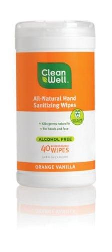 Cleanwell All-natural Hand Sanitizing Wipes - Orange Vanilla Scent, 40-Count (Pack of 3)***Pack of three, 40 count, total of 120 count,Naturally Antibacterial,Alcohol and triclosan free,Benzlkonium chloride free,Kid safe,.